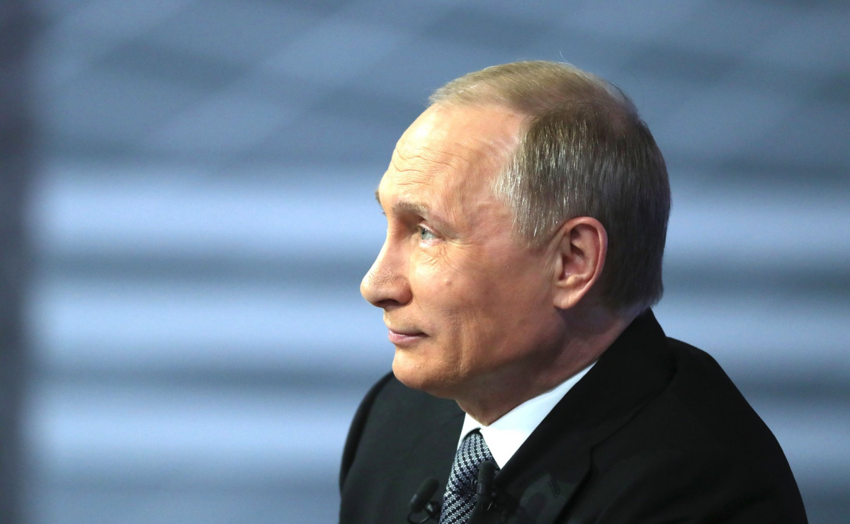 """Vladimir Putin during """"Direct Line."""" Kremlin.ru"""
