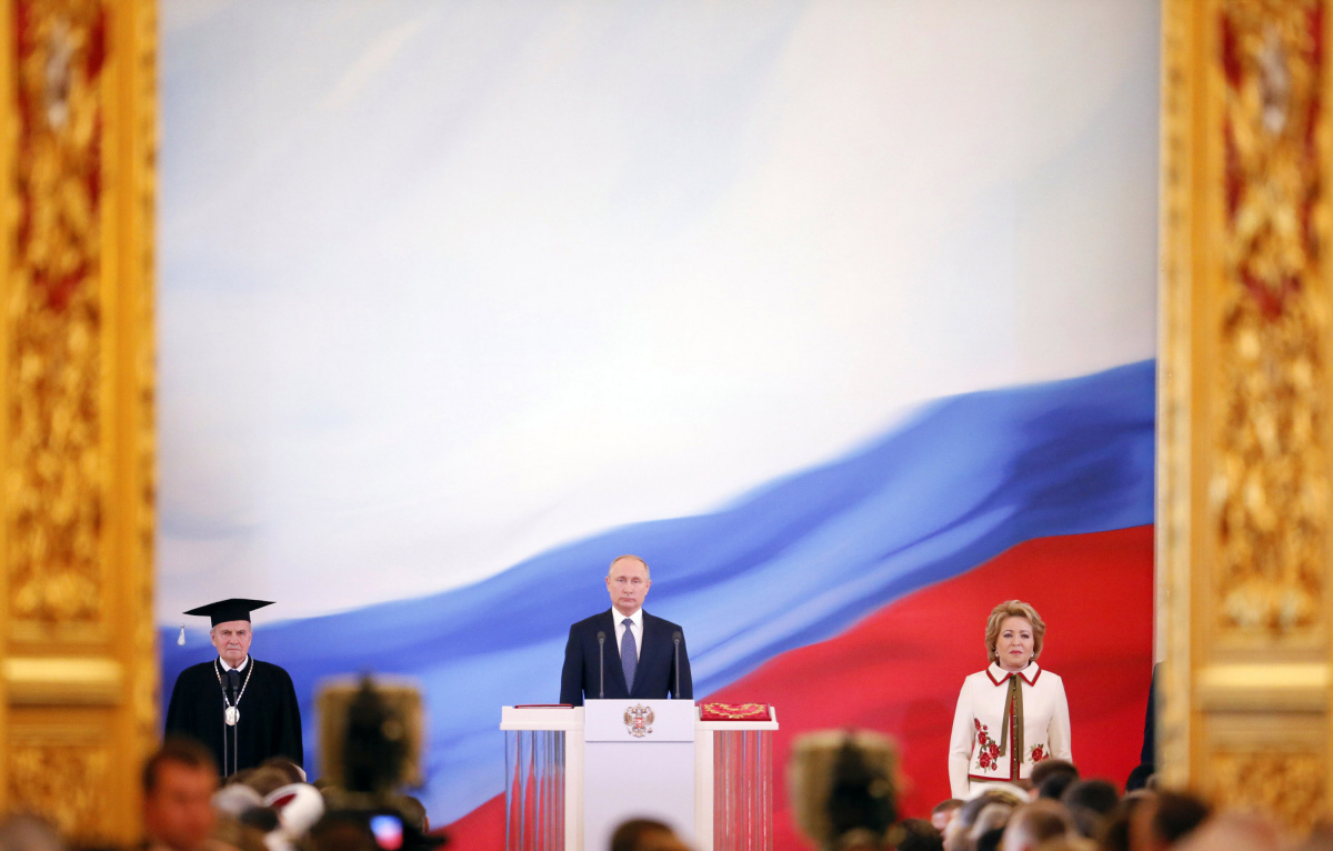 Vladimir Putin is sworn as Russian President during an inauguration ceremony at the Kremlin in Moscow