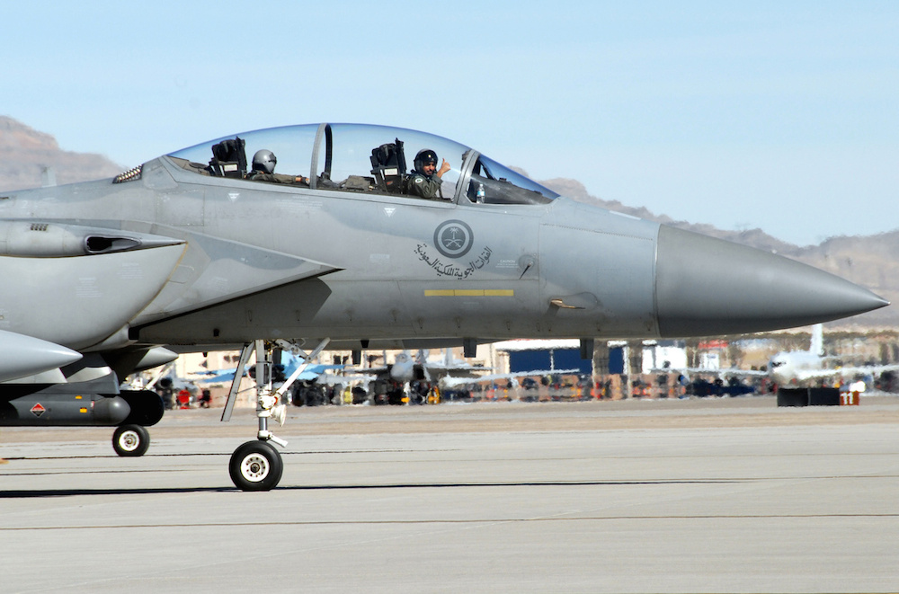 A Royal Saudi air force pilot taxis his F-15S to the runway. (U.S. Air Force photo by Chief Master Sgt. Gary Emery)