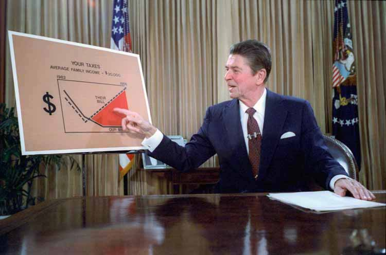 Ronald Reagan gives a televised address from the Oval Office, outlining his plan for Tax Reduction Legislation in July 1981. Wikimedia Commons/Public domain