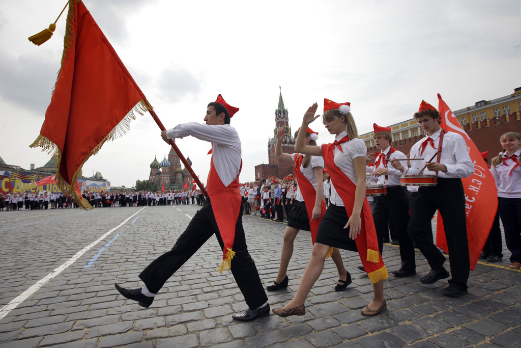Russian Communists attend a Young Pioneer induction in Red Square in 2010. Wikimedia Commons / RIA Novosti archive, image #665547 / Ruslan Krivobok / CC-BY-SA 3.0