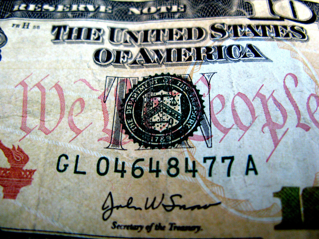 Seal of Treasury Department on ten-dollar bill. Flickr/Creative Commons/@frankieleon
