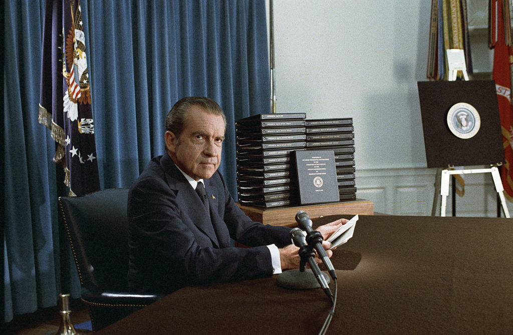 President Nixon, with edited transcripts of Nixon White House Tape conversations. Wikimedia Commons/Public domain