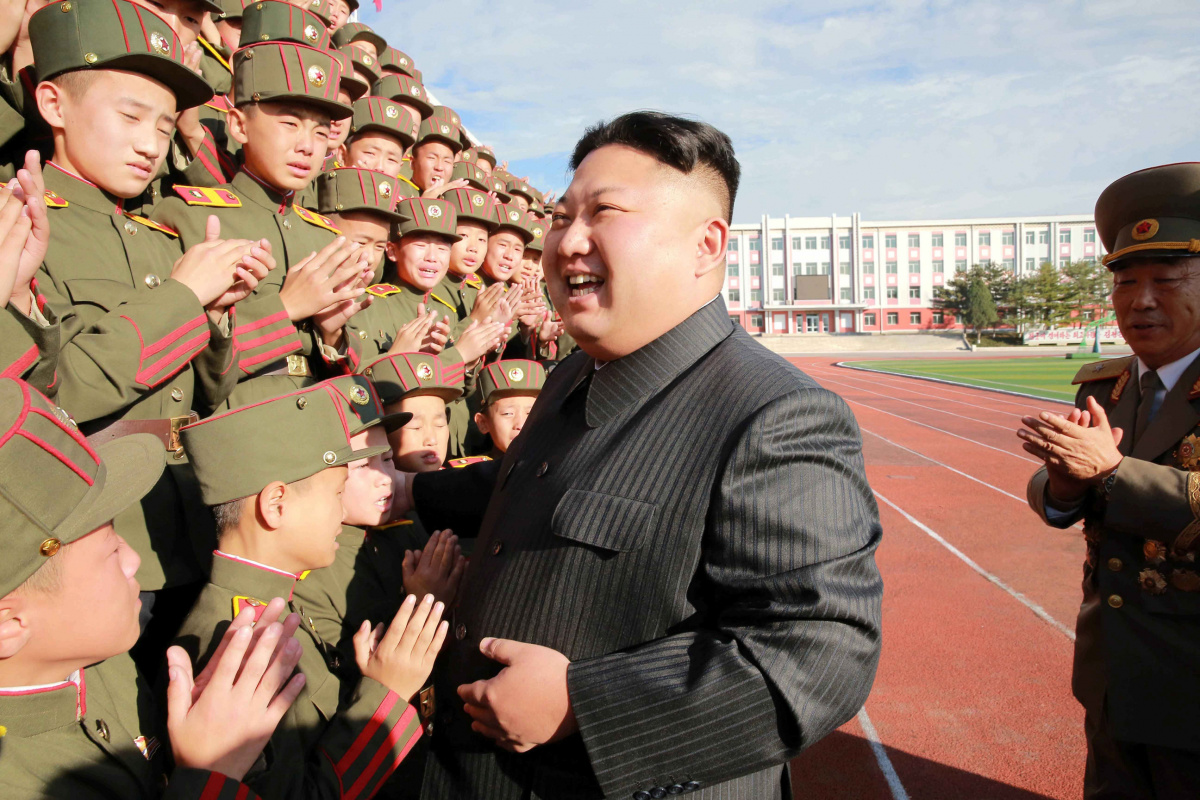 North Korea's leader Kim Jong Un visits the Mangyongdae Revolutionary Academy on its seventieth anniversary, in this undated photo released by North Korea's Korean Central News Agency (KCNA) in Pyongyang October 13, 2017. REUTERS/KCNA