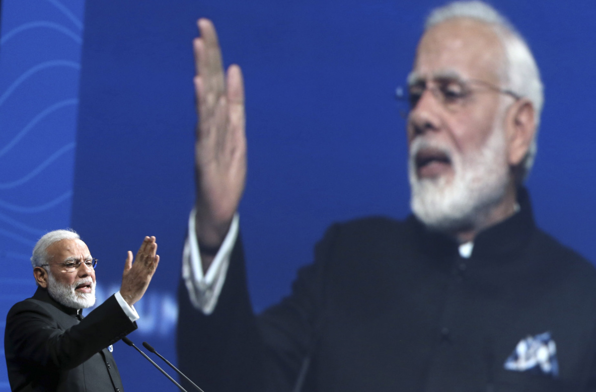 Indian Prime Minister Narendra Modi delivers a speech during a session of the St. Petersburg International Economic Forum (SPIEF), Russia, June 2, 2017. REUTERS/Valery Sharifulin/TASS/Host Photo Agency/Pool