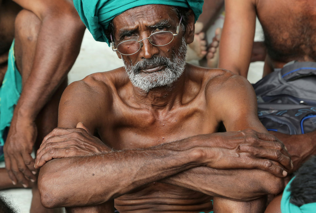 A farmer looks on as he attends a protest demanding a drought-relief package from the federal government, in Chennai, India, June 9, 2017.
