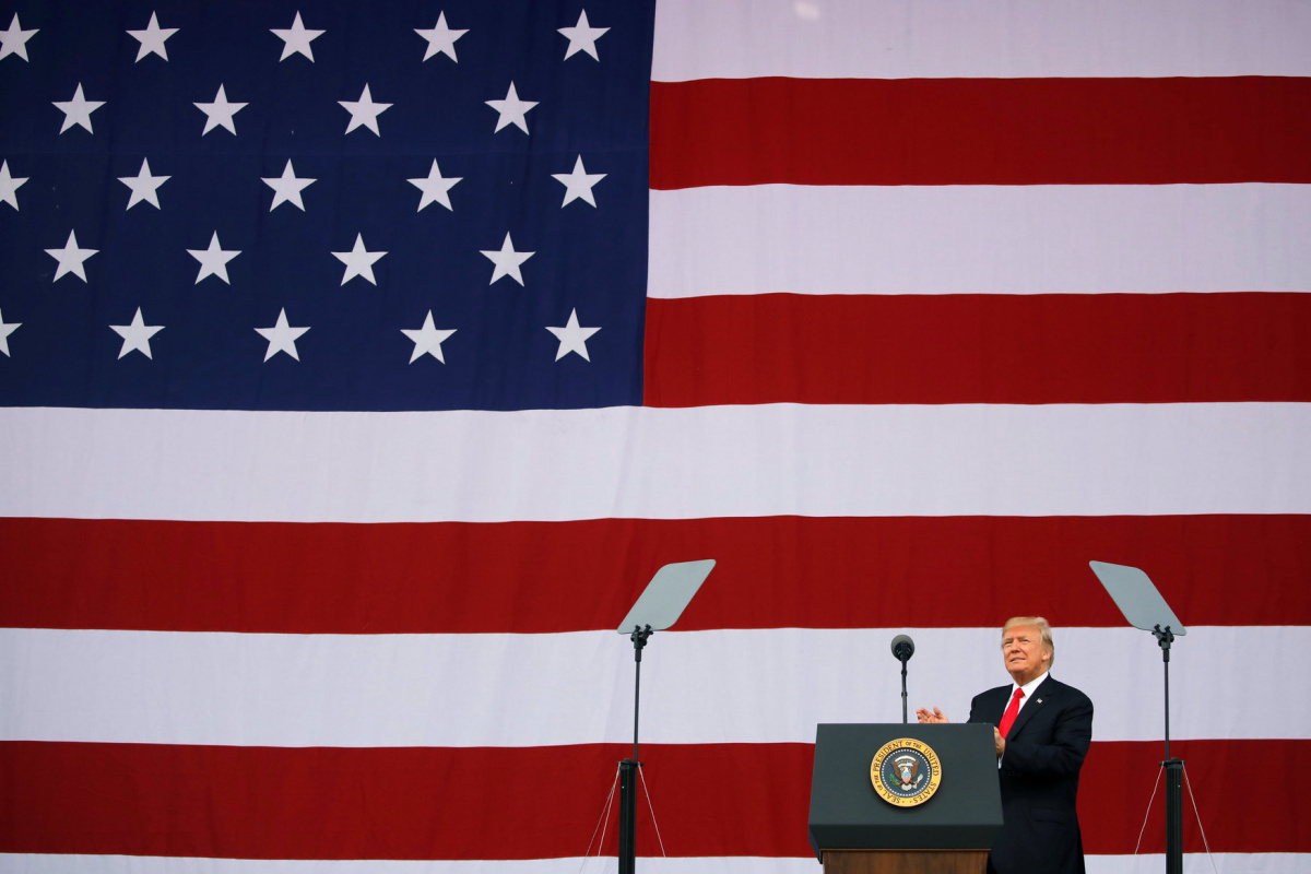 U.S. President Donald Trump arrives to delivers remarks at the 2017 National Scout Jamboree in Summit Bechtel National Scout Reserve, West Virginia, U.S., July 24, 2017. REUTERS/Carlos Barria