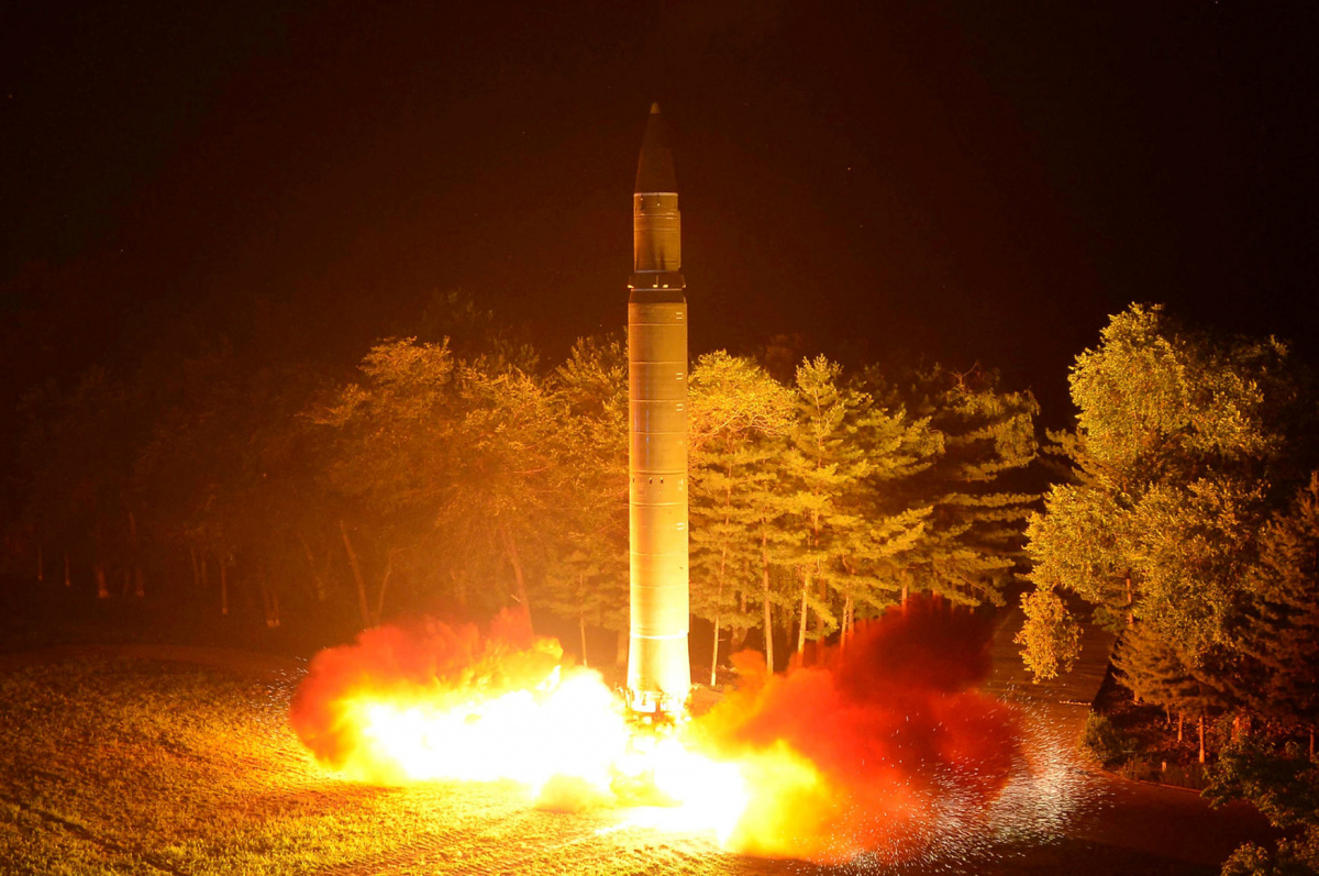 Intercontinental ballistic missile (ICBM) Hwasong-14 is pictured during its second test-fire in this undated picture provided by KCNA in Pyongyang on July 29, 2017. KCNA via Reuters/File Photo