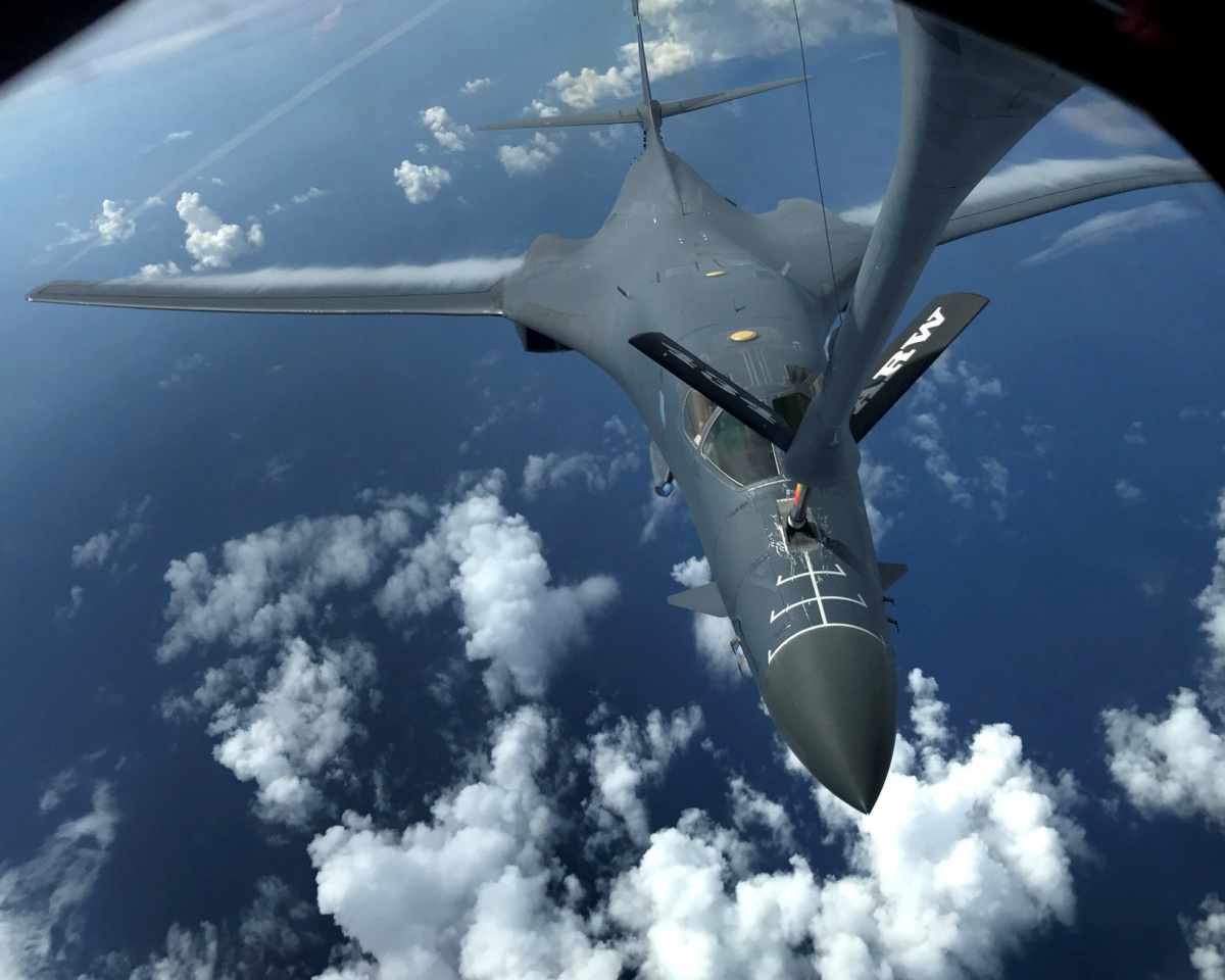 One of two U.S. Air Force B-1B Lancer bombers receives fuel from a KC-135 Stratotanker while flying a 10-hour mission from Andersen Air Force Base, Guam, into Japanese airspace and over the Korean Peninsula, July 30, 2017. U.S. Air Force photo/Staff Sgt. Joshua Smoot/Handout via REUTERS