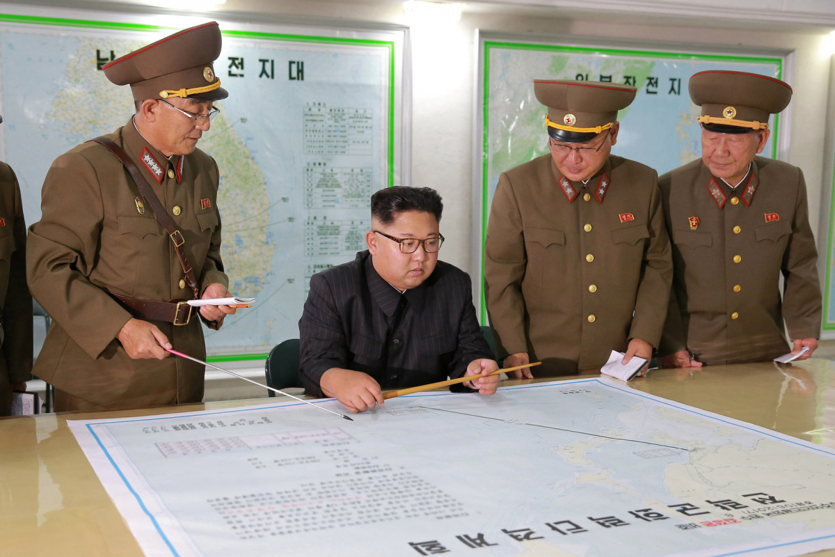 North Korean leader Kim Jong Un visits the Command of the Strategic Force of the Korean People's Army (KPA) in an unknown location in North Korea in this undated photo released by North Korea's Korean Central News Agency (KCNA) on August 15, 2017.​