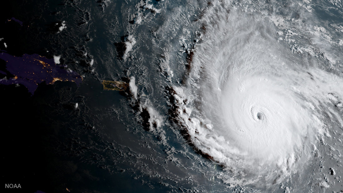Hurricane Irma, a record Category 5 storm, is seen in this NOAA National Weather Service National Hurricane Center image from GOES-16 satellite taken on September 5, 2017. Courtesy NOAA National Weather Service National Hurricane Center/Handout via REUTERS