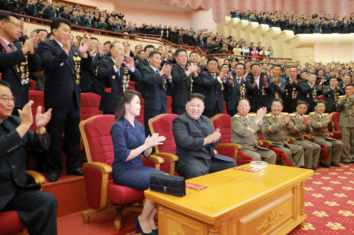 North Korean leader Kim Jong Un claps during a celebration for nuclear scientists and engineers who contributed to a hydrogen bomb test, in this undated photo released by North Korea's Korean Central News Agency (KCNA) in Pyongyang on September 10, 2017. KCNA via REUTERS