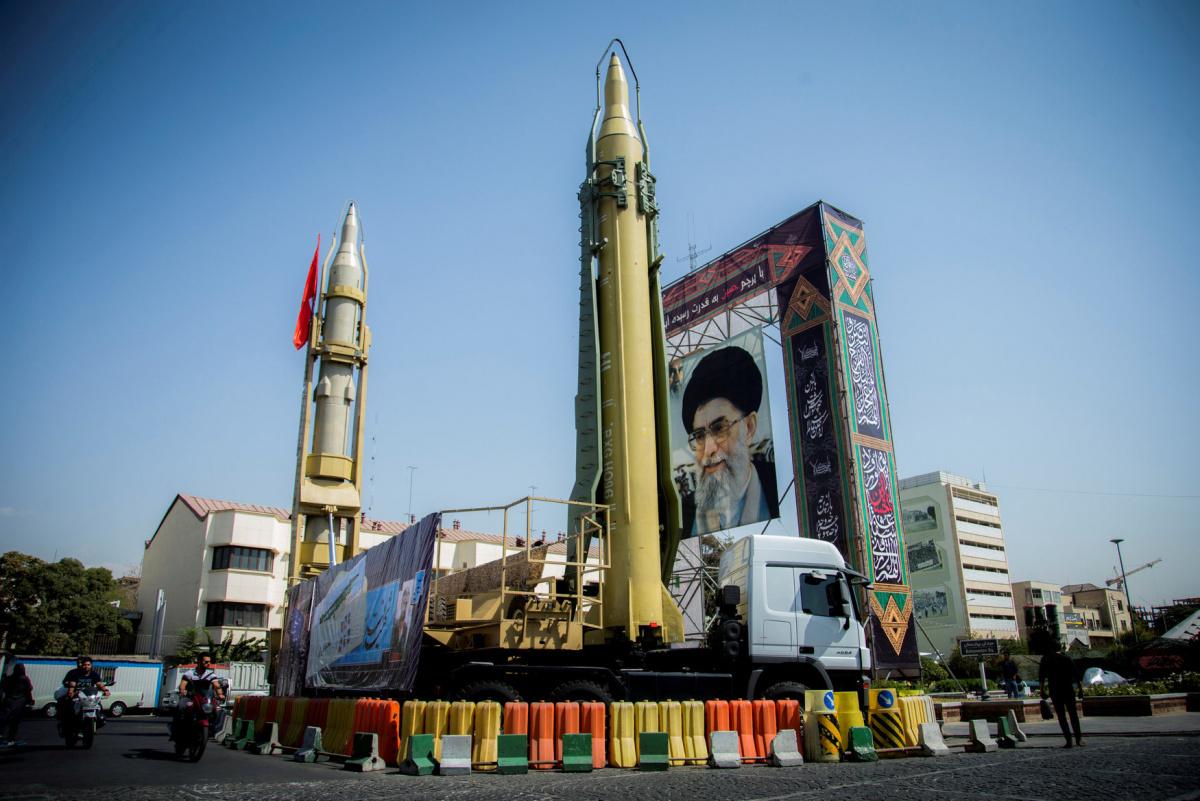 A display featuring missiles and a portrait of Iran's Supreme Leader Ayatollah Ali Khamenei is seen at Baharestan Square in Tehran, Iran September 27, 2017. Nazanin Tabatabaee Yazdi/TIMA/File Photo via REUTERS