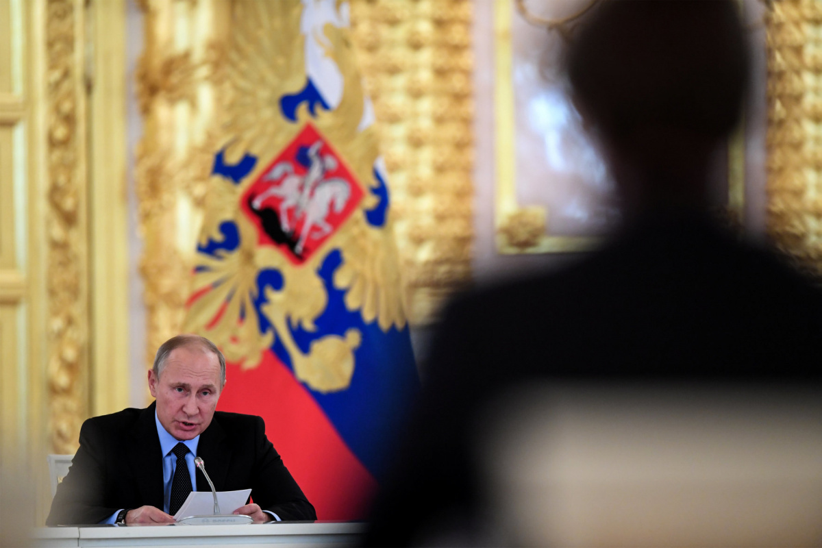 Russian President Vladimir Putin speaks during a meeting with members of the Presidential Council for Civil Society and Human Rights at the Kremlin in Moscow, Russia October 30, 2017. REUTERS/Kirill Kudryavtsev/Pool