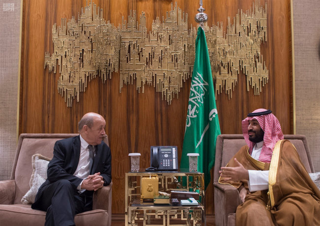 Saudi Crown Prince Mohammed bin Salman meets with France's Foreign Minister Jean-Yves Le Drian, in Riyadh, Saudi Arabia, November 15, 2017. Picture taken November 15, 2017. Saudi Press Agency/Handout via REUTERS