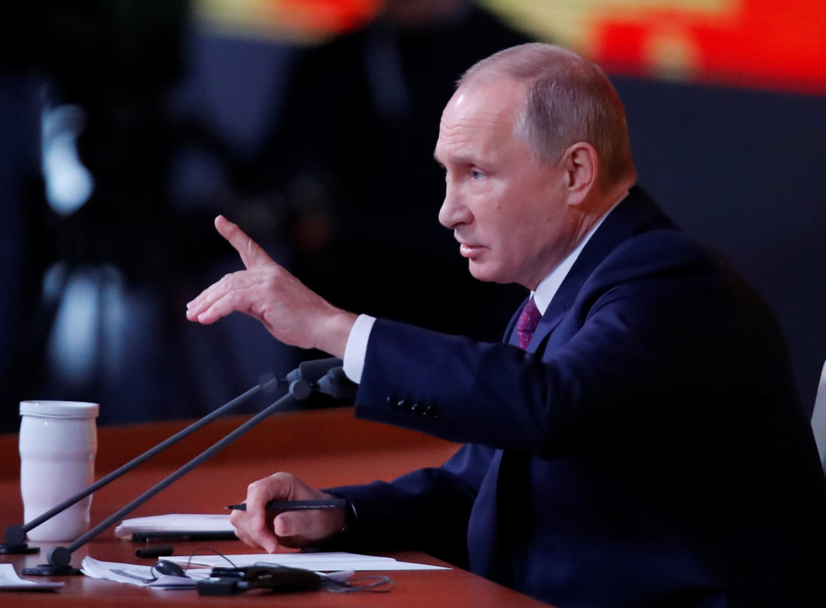 Russian President Vladimir Putin speaks during his annual end-of-year news conference in Moscow, Russia, December 14, 2017. REUTERS/Maxim Shemetov