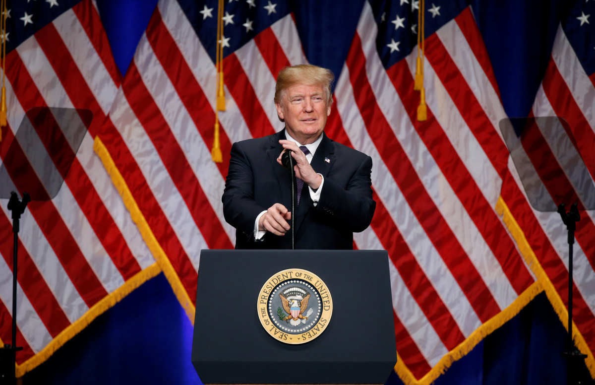 U.S. President Donald Trump delivers remarks regarding the Administration's National Security Strategy at the Ronald Reagan Building and International Trade Center in Washington D.C., U.S. December 18, 2017. REUTERS/Joshua Roberts