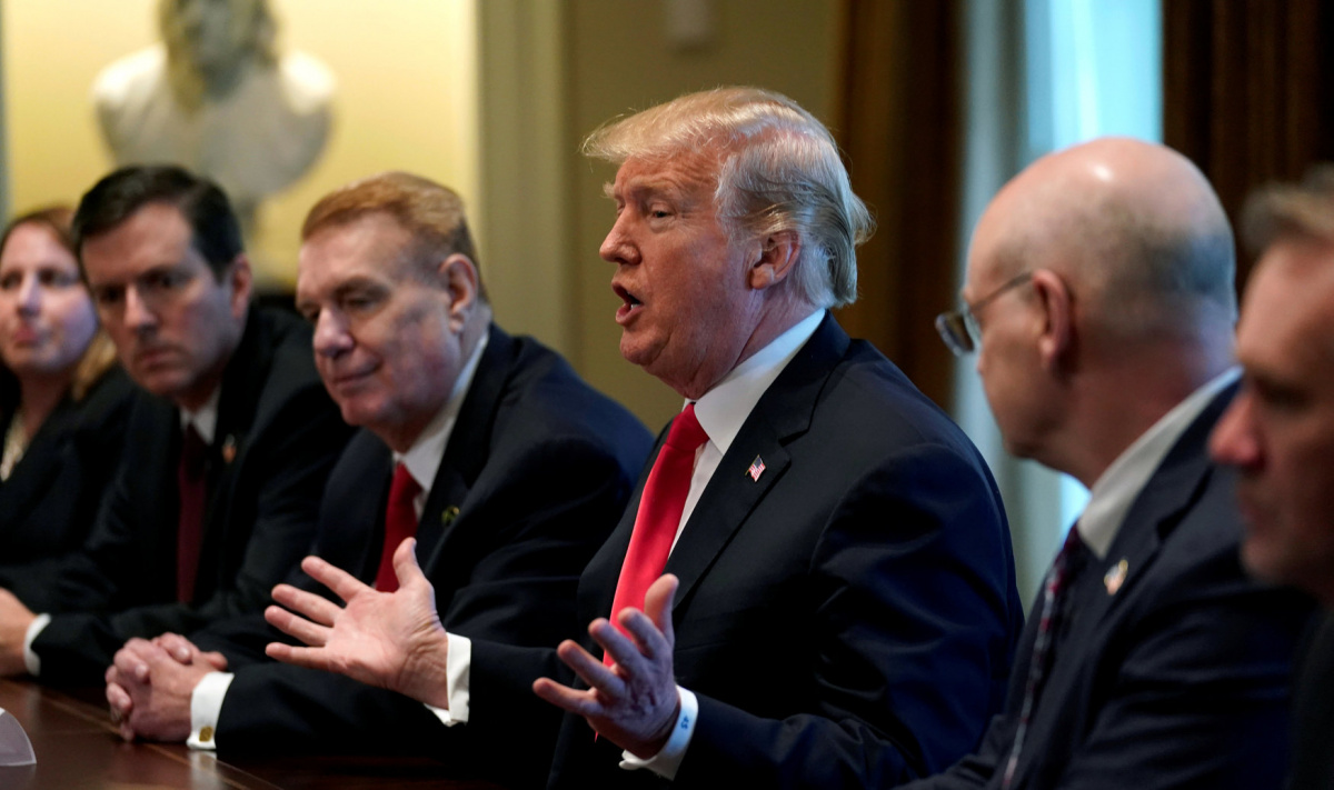 U.S. President Donald Trump announces that the United States will impose tariffs of 25 percent on steel imports and 10 percent on imported aluminum during a meeting at the White House in Washington, U.S., March 1, 2018. REUTERS/Kevin Lamarque/File Photo
