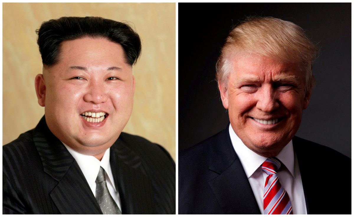 A combination photo shows a Korean Central News Agency (KCNA) handout of Kim Jong Un released on May 10, 2016, and Donald Trump posing for a photo in New York City, U.S., May 17, 2016. REUTERS/KCNA handout via Reuters/File Photo & REUTERS/Lucas Jackson