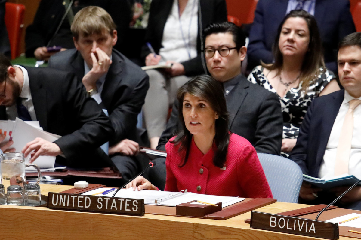 United States Ambassador to the United Nations Nikki Haley speaks during a United Nations Security Council meeting on a chemical weapons watchdog report that concluded a nerve agent was used in the attempted murder of former Russian spy Sergei Skripal at the U.N. headquarters in New York, U.S., April 18, 2018. REUTERS/Shannon Stapleton