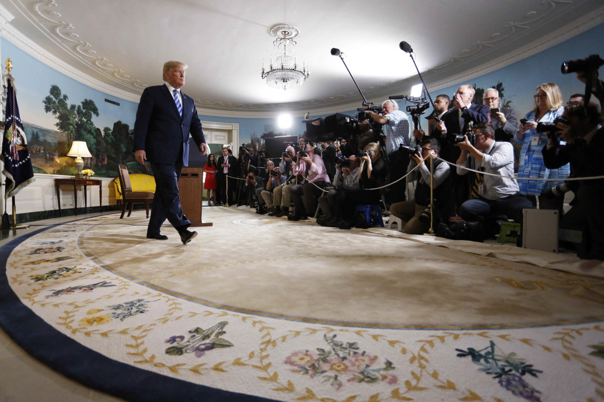 U.S. President Donald Trump departs after announcing his intent to withdraw from the JCPOA Iran nuclear agreement in the Diplomatic Room at the White House in Washington, U.S., May 8, 2018. REUTERS/Jonathan Ernst