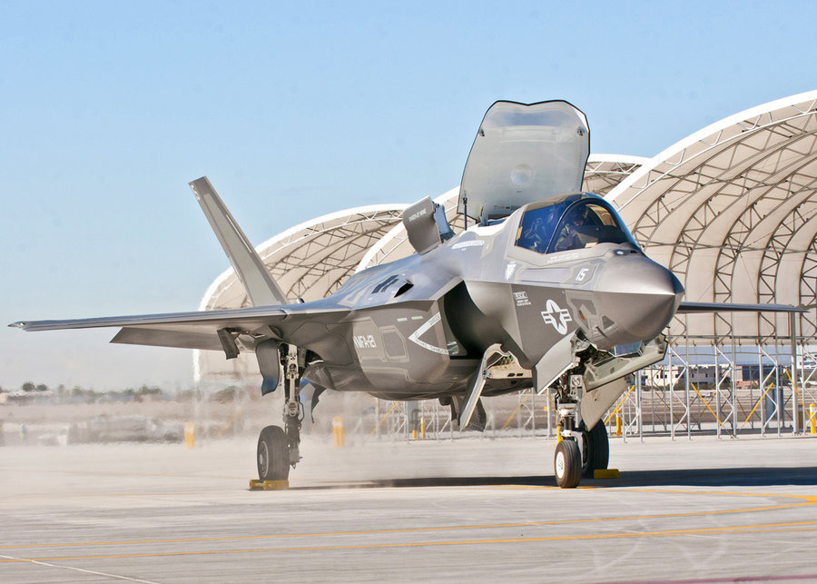 Third Marine Aircraft Wing's first F-35B arrives on the Marine Corps Air Station Yuma flightline, in Yuma, Arizona, in this U.S. Marine Corps handout photo taken November 16, 2012. The arrival highlights the official re-designation of Marine All Weather Fighter Attack Squadron 121, an F/A-18 Hornet Squadron, as the world's first operational F-35 squadron at MCAS Yuma, which took place November 20, 2012. Known as the F-35 Lightning II, the F-35B will eventually replace the Corps' aging legacy tactical fleet
