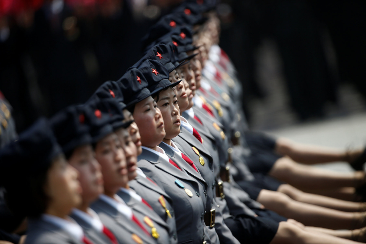Uniformed women march past the stand with North Korean leader Kim Jong Un and other high ranking officials during a military parade marking the 105th birth anniversary of the country's founding father Kim Il Sung, in Pyongyang April 15, 2017. REUTERS/Damir Sagolj
