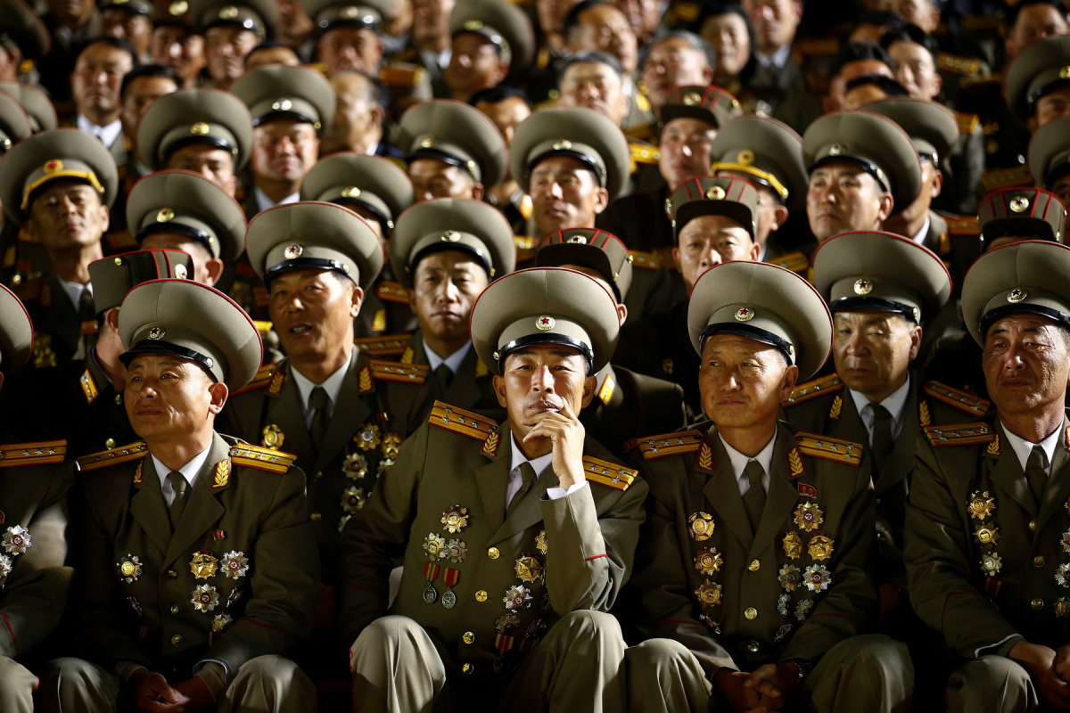 Military officers follow a mass dance event marking the 105th birth anniversary of the country's founding father, Kim Il Sung, in Pyongyang, North Korea April 15, 2017. REUTERS/Damir Sagolj