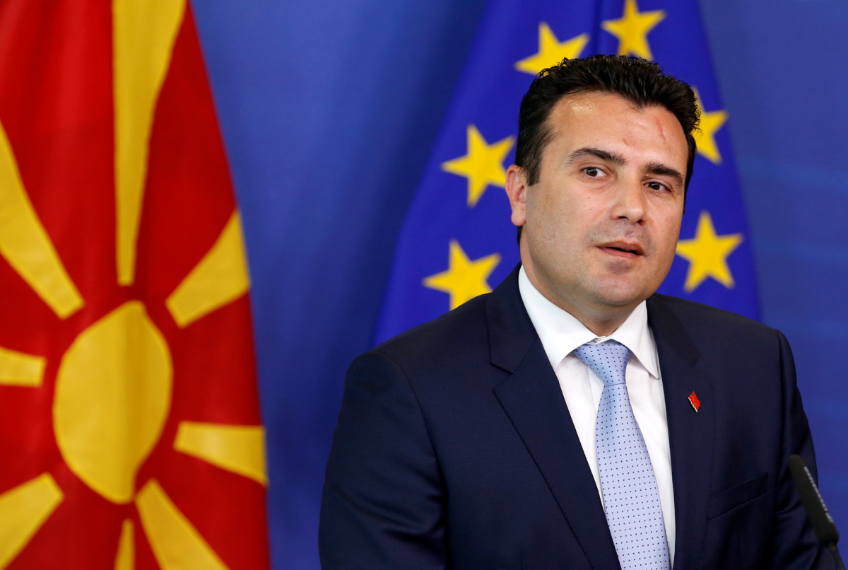 Macedonian Prime Minister Zoran Zaev talks to the media after meeting European Neighbourhood Policy and Enlargement Negotiations Commissioner Johannes Hahn (not pictured) at the EU Commission headquarters in Brussels, Belgium June 12, 2017. REUTERS/Francois Lenoir