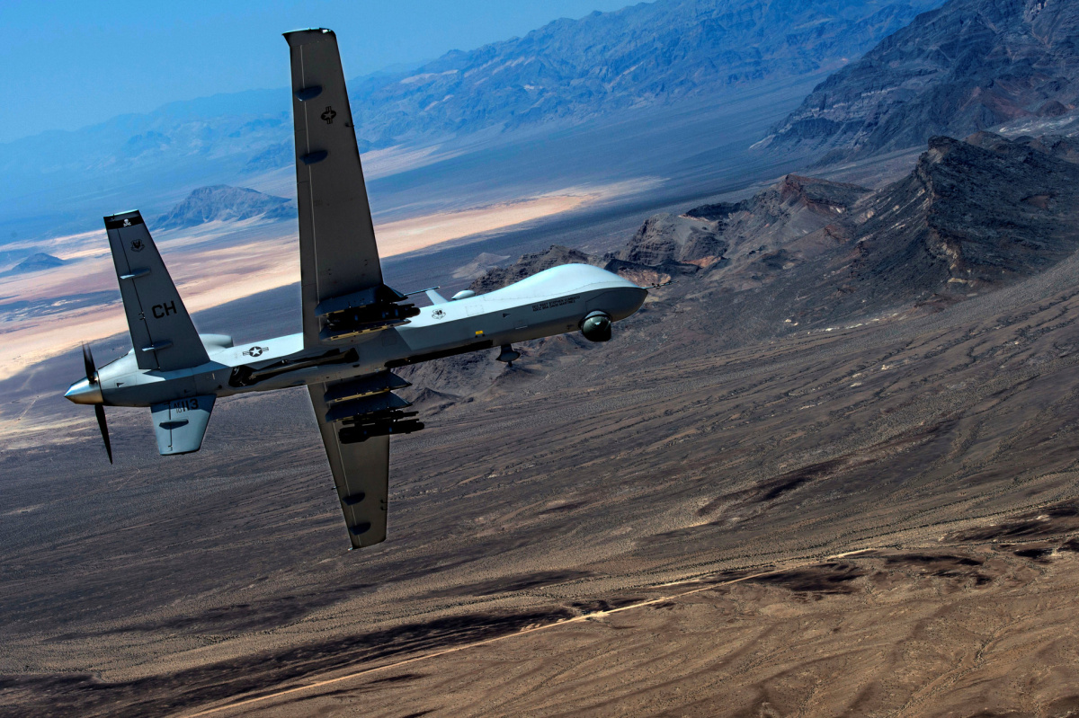 An MQ-9 Reaper remotely piloted drone aircraft performs aerial maneuvers over Creech Air Force Base, Nevada, U.S., June 25, 2015. Picture taken June 25, 2015. U.S. Air Force/Senior Airman Cory D. Payne/Handout via REUTERS