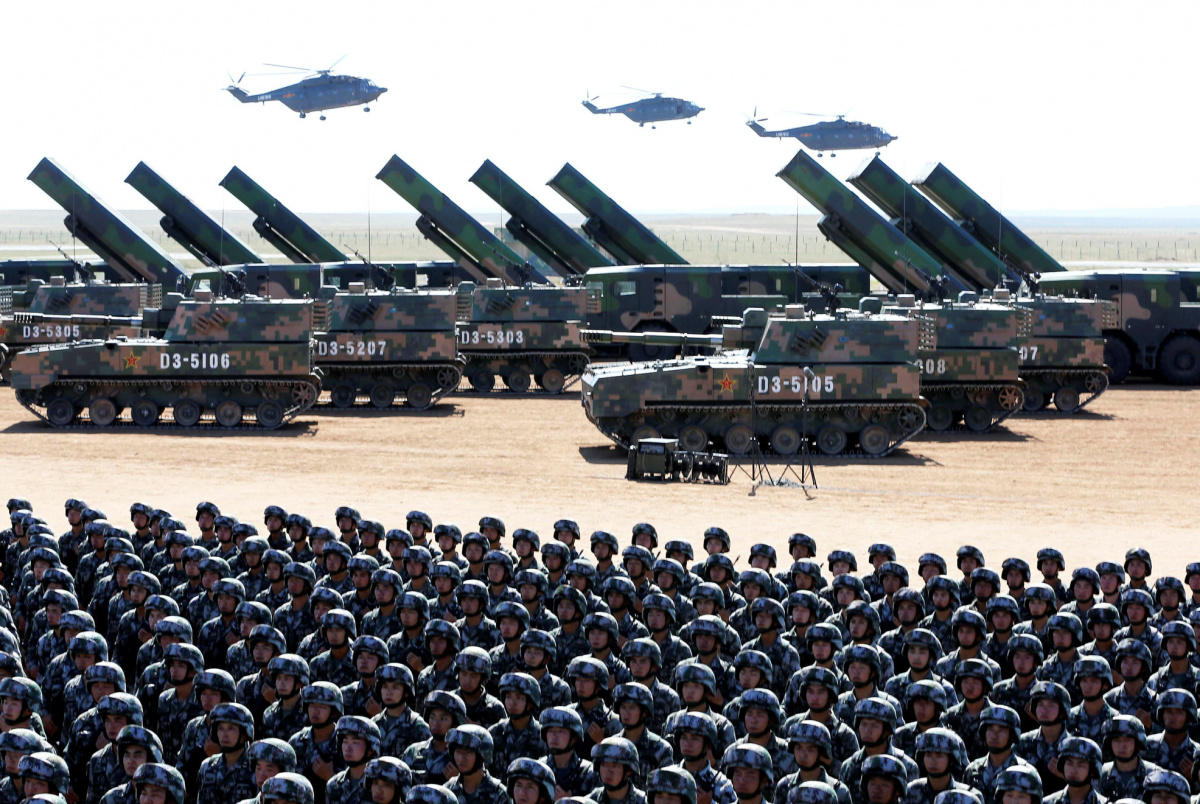 Soldiers of China's People's Liberation Army (PLA) take part in a military parade to commemorate the 90th anniversary of the foundation of the army at the Zhurihe military training base in Inner Mongolia Autonomous Region, China, July 30, 2017. REUTERS/Stringer