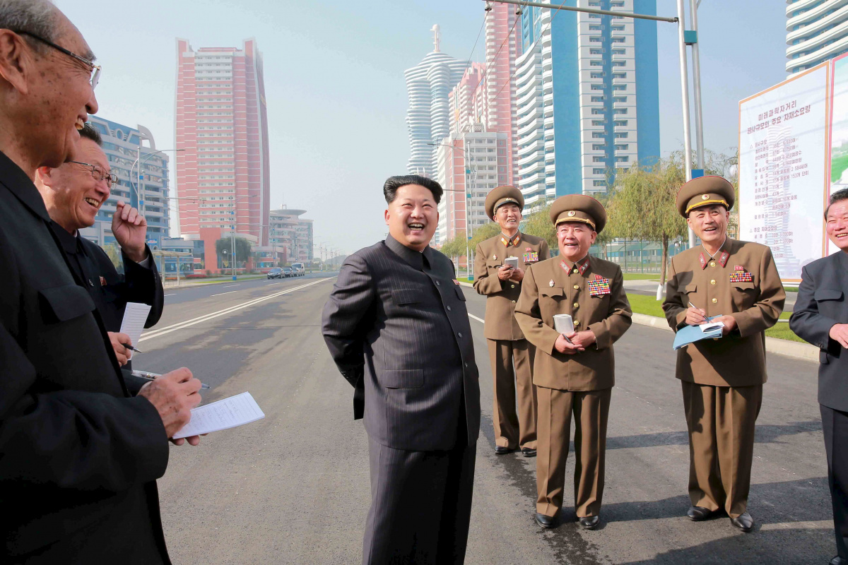 North Korean leader Kim Jong Un inspects the completed Mirae Scientists Street, in this undated photo released by North Korea's Korean Central News Agency (KCNA) in Pyongyang on October 21, 2015.
