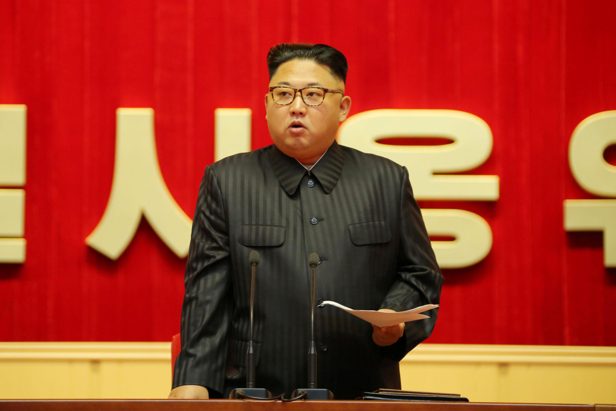 North Korean leader Kim Jong Un guides the 3rd Meeting of Activists of the Korean People's Army in the Movement for Winning the Title of O Jung Hup-led 7th Regiment in this undated