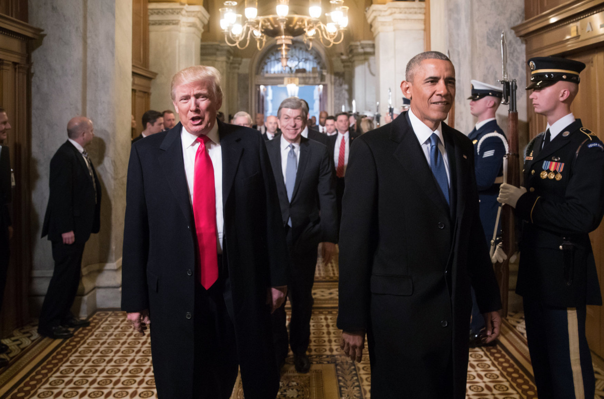 President-elect Donald Trump, left, and President Barack Obama arrive for Trump's inauguration ceremony at the Capitol in Washington, D.C., U.S. January 20, 2017. REUTERS/J. Scott Applewhite/Pool