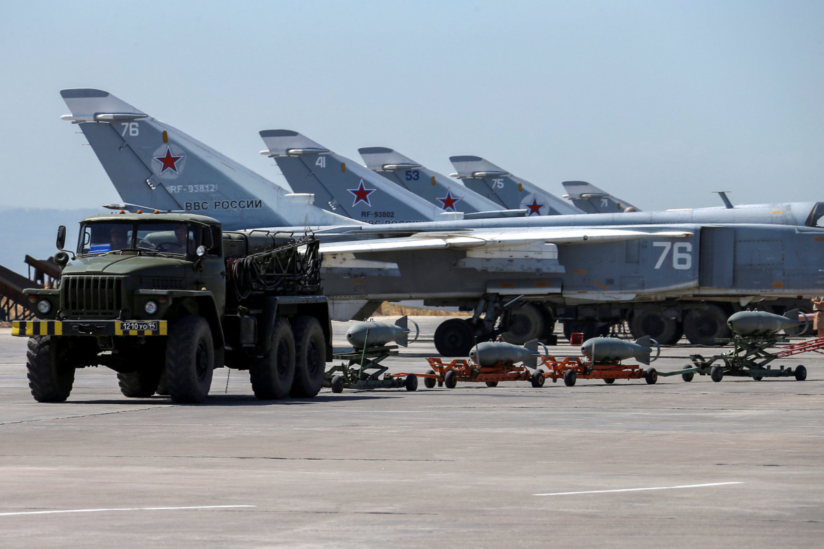 Russian military jets are seen at Hmeymim air base in Syria, June 18, 2016. Picture taken June 18, 2016. REUTERS/Vadim Savitsky/Russian Defense Ministry via Reuters