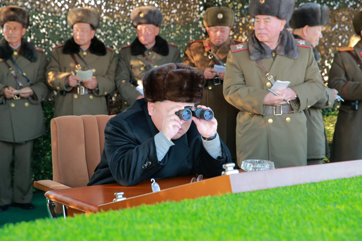 North Korean Leader Kim Jong Un looks on during the test-fire of inter-continental ballistic missile Hwasong-14 in this undated photo released by North Korea's Korean Central News Agency (KCNA) in Pyongyang, July, 4 2017. KCNA/via REUTERS