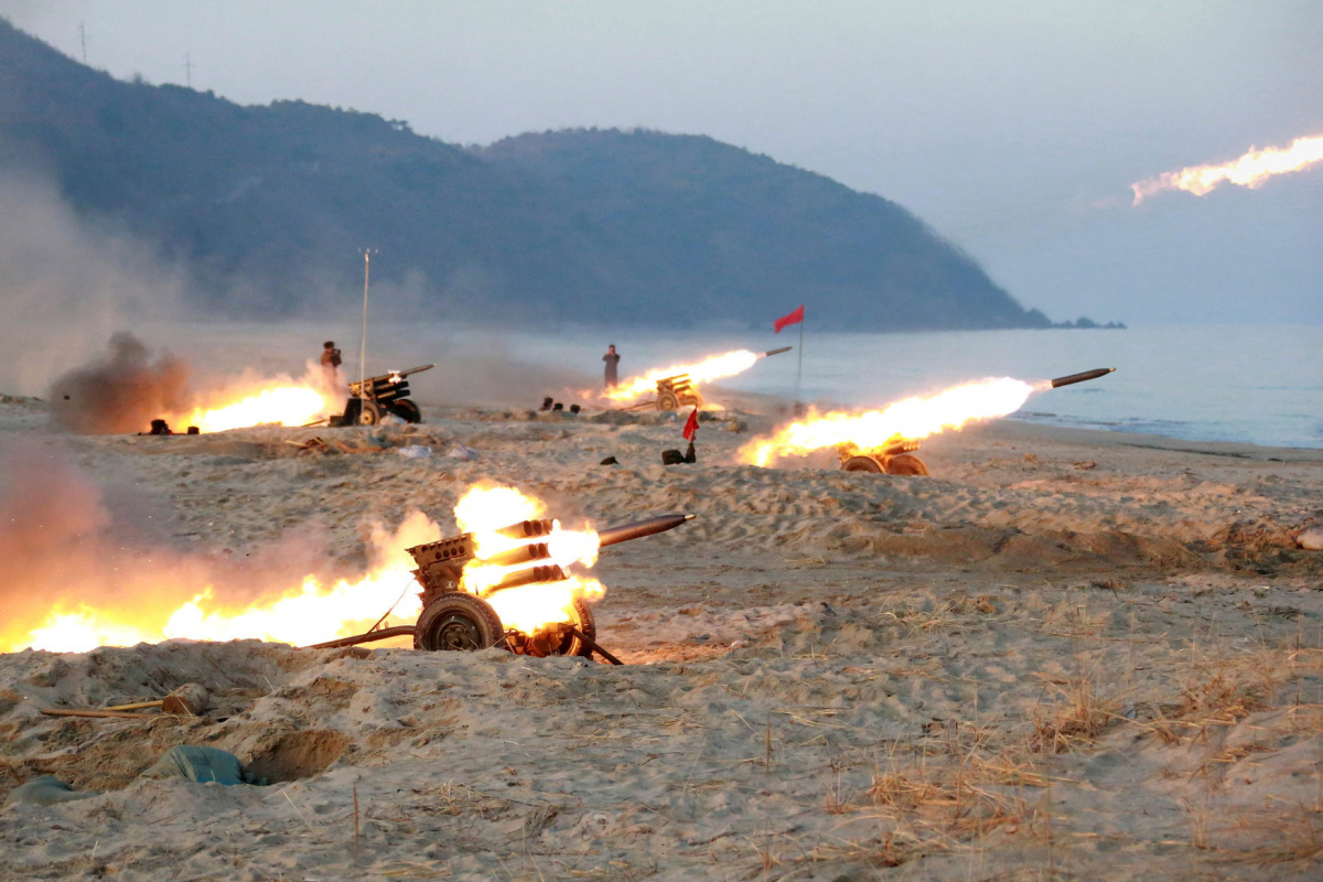 A view of a firing contest among multiple launch rocket system (MLRS) batteries selected from large combined units of the KPA, in this undated photo released by North Korea's Korean Central News Agency (KCNA) in Pyongyang on December 21, 2016. KCNA/via Reuters