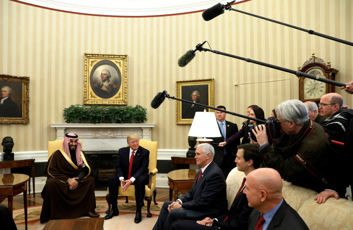 U.S. President Donald Trump meets with Saudi Deputy Crown Prince and Minister of Defense Mohammed bin Salman at the White House in Washington, U.S., March 14, 2017. REUTERS/Kevin Lamarque