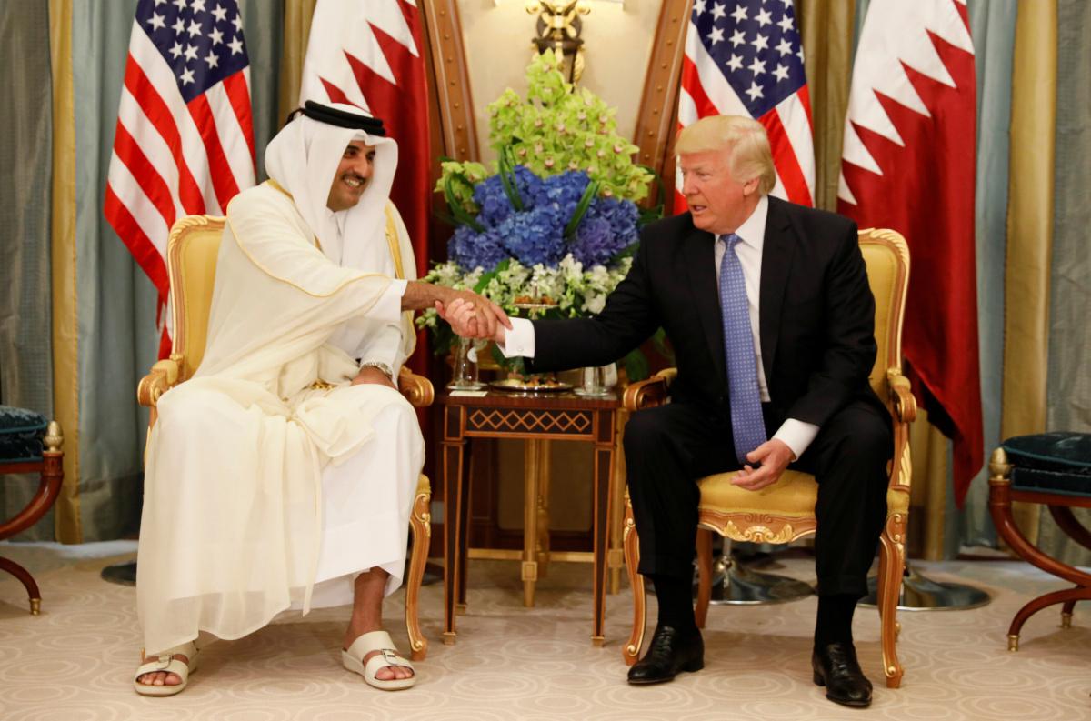 Qatar's Emir Sheikh Tamim Bin Hamad Al-Thani meets with U.S. President Donald Trump in Riyadh, Saudi Arabia, May 21, 2017. REUTERS/Jonathan Ernst