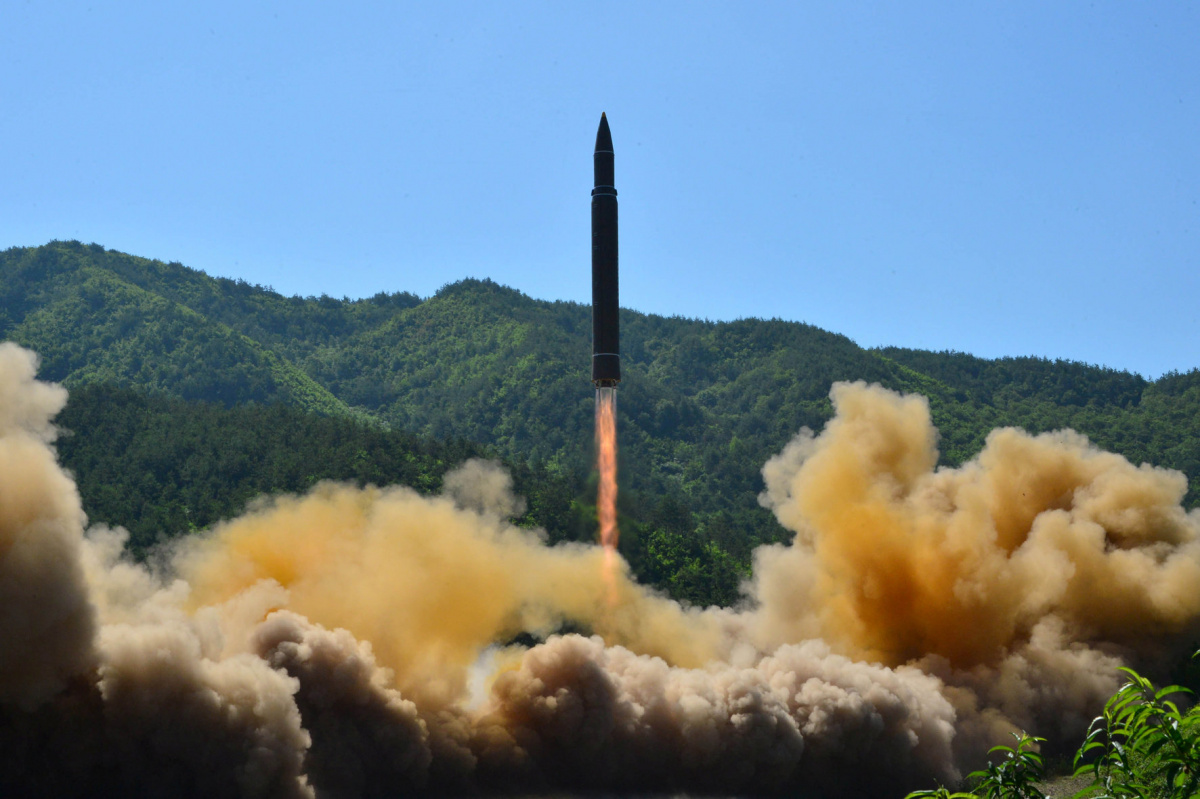 The intercontinental ballistic missile Hwasong-14 is seen during its test in this undated photo released by North Korea's Korean Central News Agency (KCNA) in Pyongyang, North Korea July 5 2017.