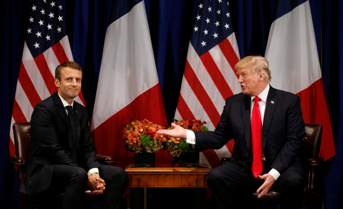 U.S. President Donald Trump meets French President Emmanuel Macron in New York, U.S., September 18, 2017. REUTERS/Kevin Lamarque