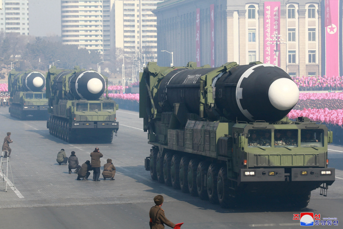 Intercontinental ballistic missiles are seen at a grand military parade celebrating the 70th founding anniversary of the Korean People's Army at the Kim Il Sung Square in Pyongyang, in this photo released by North Korea's Korean Central News Agency (KCNA) February 9, 2018. KCNA/via REUTERS