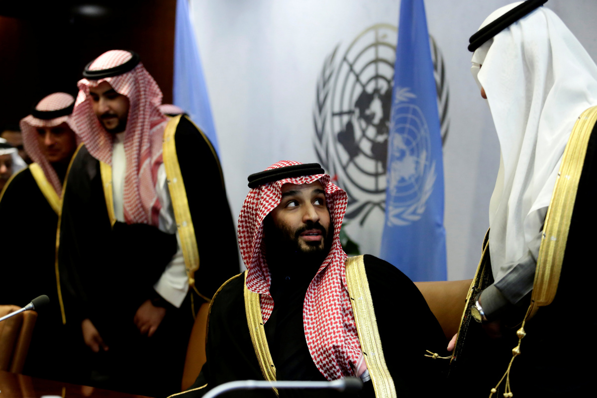 Saudi Arabia's Crown Prince Mohammed bin Salman Al Saud is seen during a photo opportunity at the United Nations headquarters in the Manhattan borough of New York City, New York, U.S., March 27, 2018. REUTERS/Amir Levy