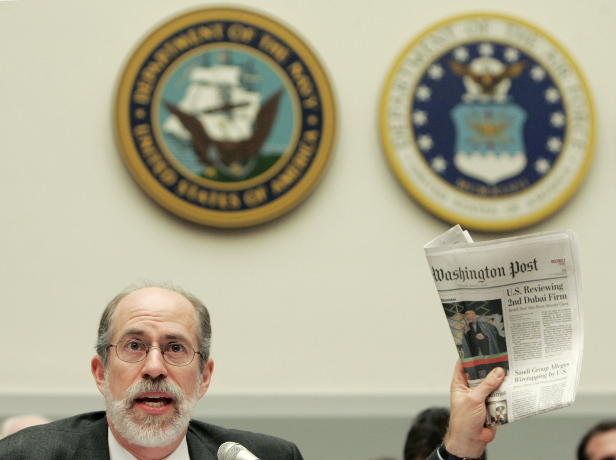 Frank Gaffney of the Center for Security Policy testifies in front of the U.S. House Armed Services Committee about DP World's takeover of the operations of U.S. ports on Capitol Hill in Washington