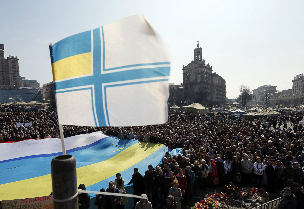 A Ukrainian Navy flag is seen during an anti-war rally at Independence Square in Kiev March 23, 2014