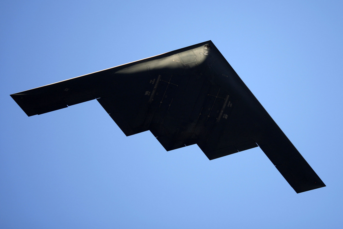 A B-2 Stealth Bomber performs a flyover at the 126th Rose Parade in Pasadena, California