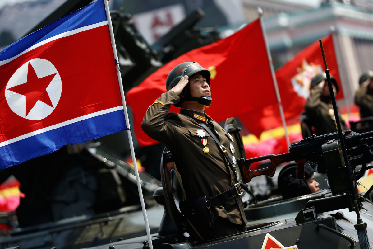 A soldier salutes during a military parade in Pyongyang April 15, 2017. Reuters/Damir Sagolj
