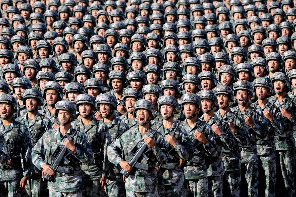 Soldiers of China's People's Liberation Army at Zhurihe military training base in Inner Mongolia Autonomous Region. China Daily via Reuters.