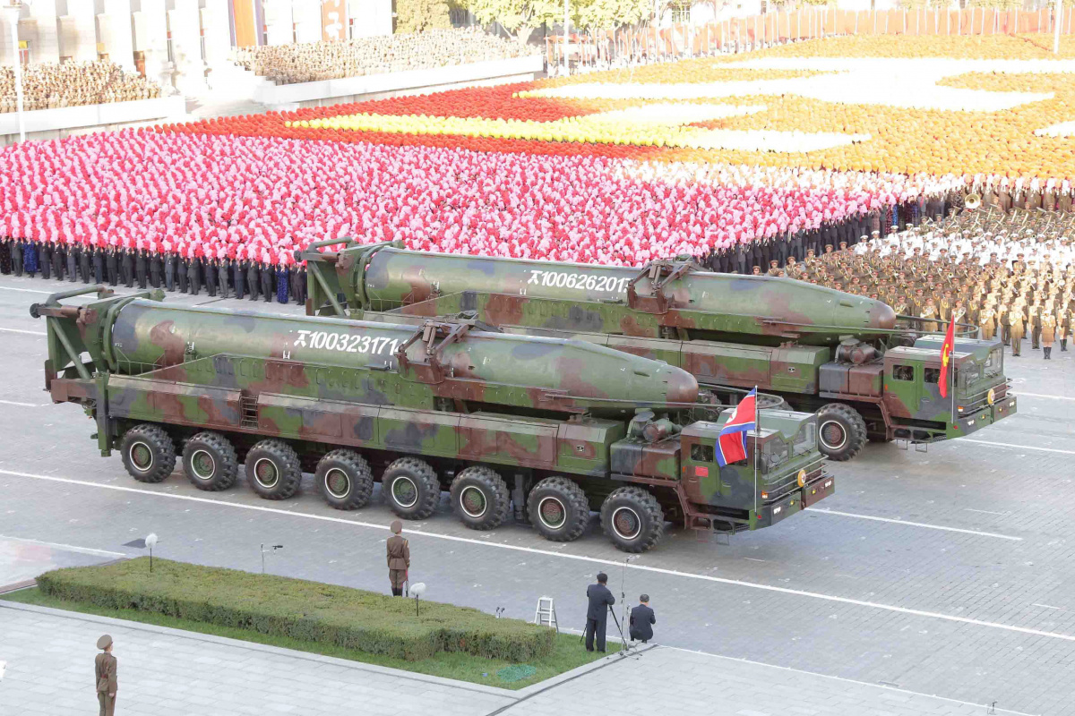 North Korean military participate in the celebration of the 70th anniversary of the founding of the ruling Workers' Party of Korea