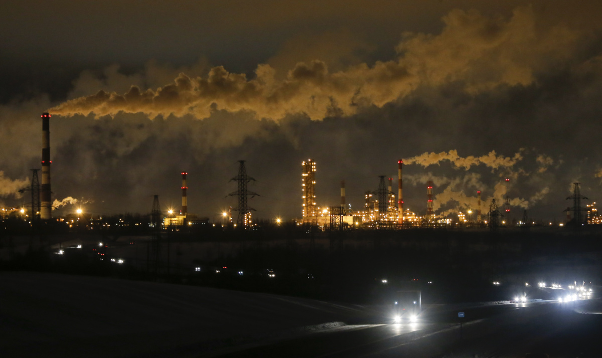 A general view shows the Slavneft-YaNOS refinery owned by Russian oil and gas company Slavneft, in the city of Yaroslavl, Russia